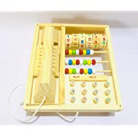 SN Toy Zone Wood Kids Drag Telephone Set with Number, Beads and Calculation Toy with Fancy Gel Pen