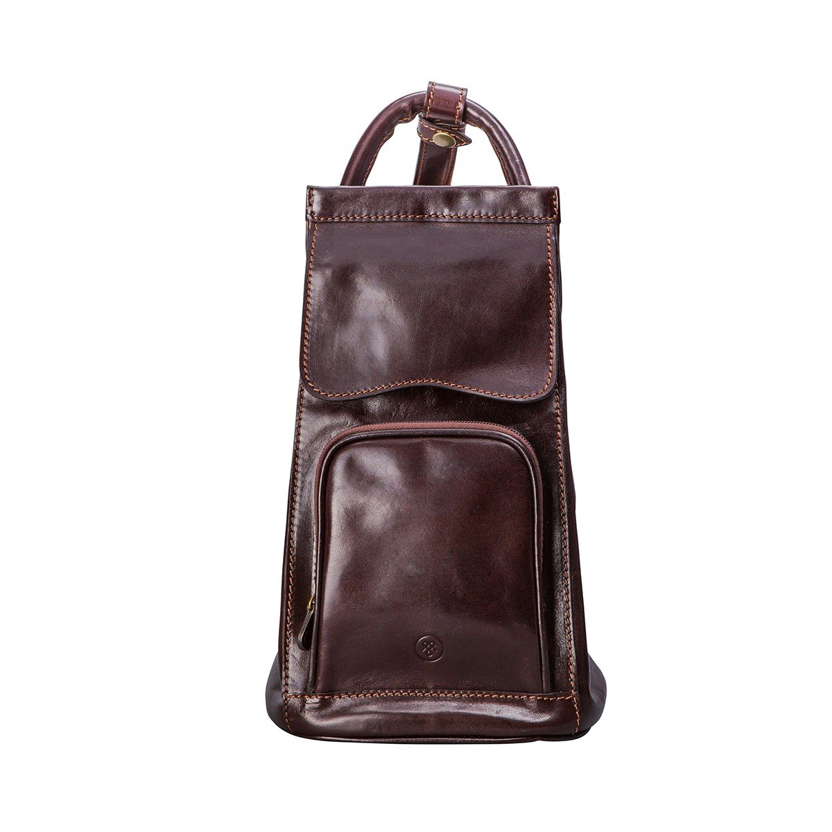 Maxwell Scott Luxury Brown Leather Sling Rucksack (Carli) - One Size