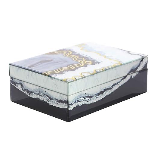 Sagebrook Home - Caja Decorativa (Cristal y Madera), Color Blanco ...