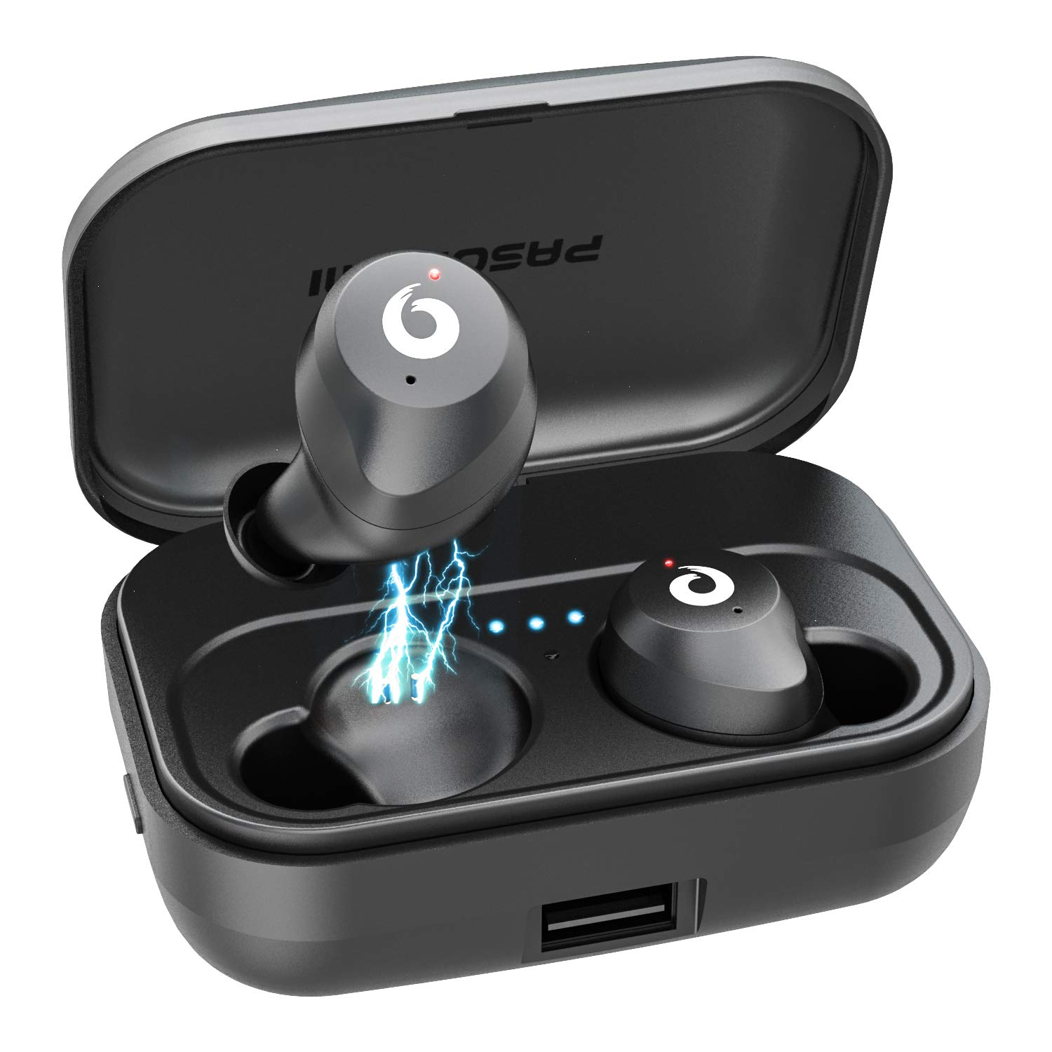 Wireless Earbuds TWS Bluetooth Earbuds Stereo Bluetooth 5.0 Headphones Sports IPX7 Waterproof Wireless Earphones with 2200mah Charging Case Box, Built-in Mic