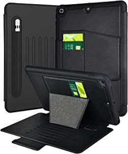 TGOOD iPad 10.2 Case 2020/2019 iPad 8th/7th Generation Case with Pen Holder,Durable Shockproof Magnetic Cover for iPad 10.2 inch 2019/2020 (A2270 A2428 A2429 A2430/A2197 A2198 A2200) for Kids-Black