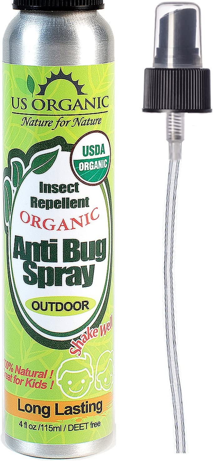 Organic mosquito repellent anti bug outdoor pump sprays by US Organic, 4 ounces, certified organic, proven results by lab testing, deet-free