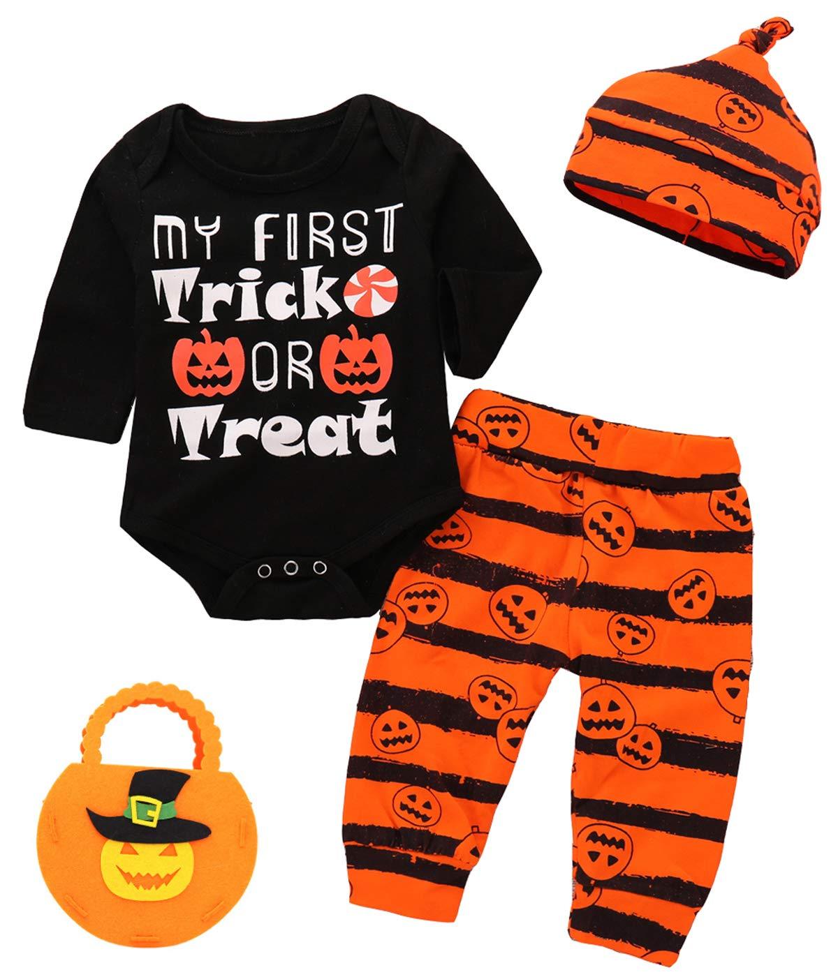 Halloween 4Pcs Outfit Set Baby Boy Girls Pumpkin Bodysuit with Candy Bag (Black, 3-6 Months)