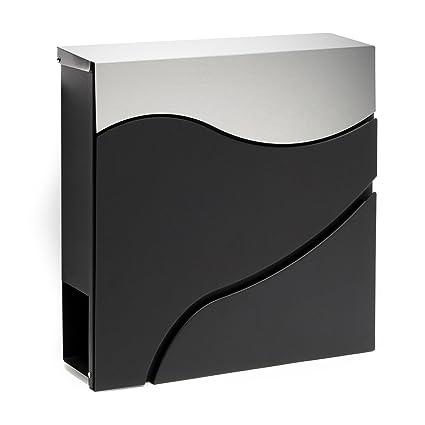 Buzón correos diseño moderno V27 Negro Bandeja soporte periódico Cartas Correspondencia Postal