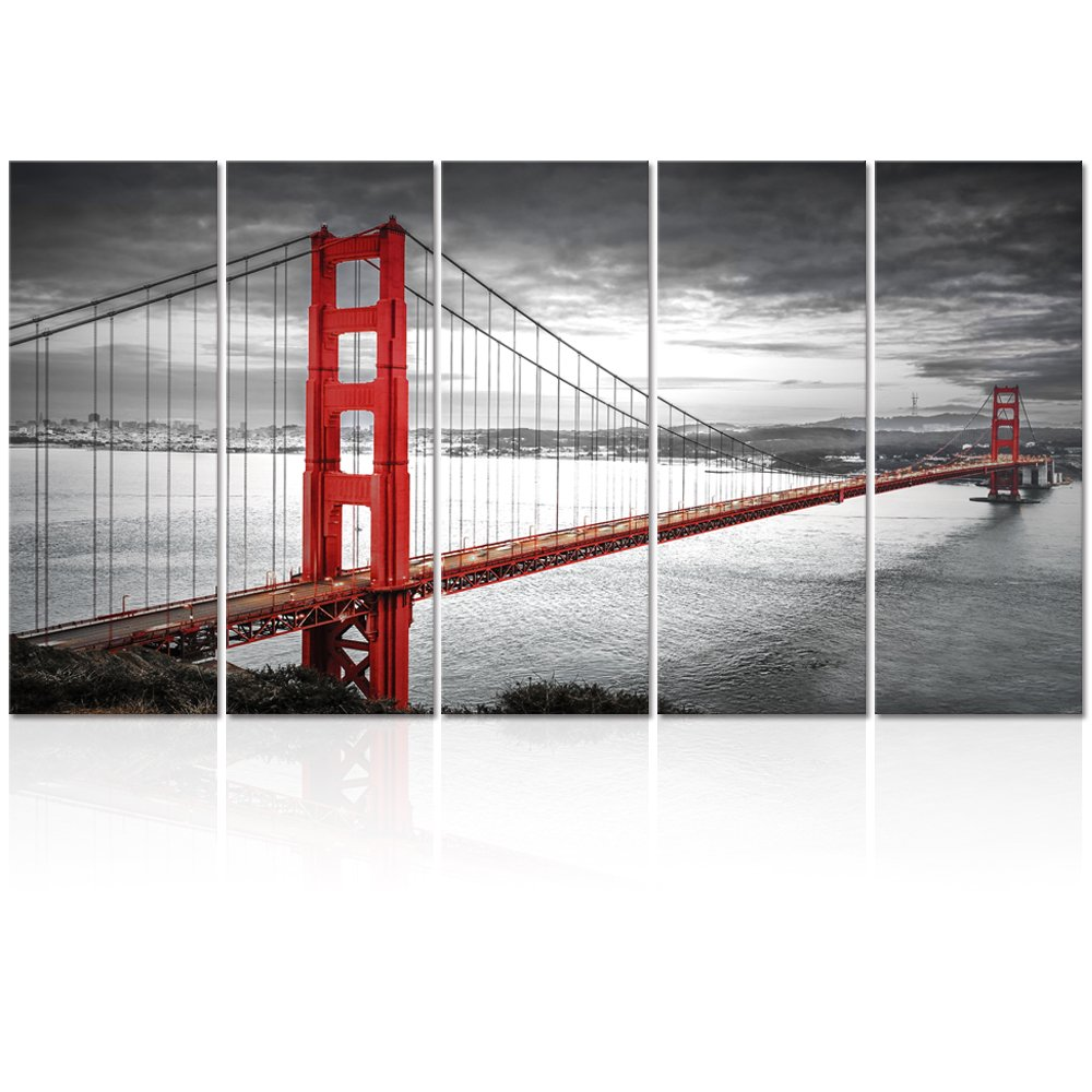 Visual Art Decor Landscape Canvas Wall Art Architecture Design Cityscape Scene Photo Picture Printed on Canvas Gallery Wrapped Ready to Hang (Golden Gate Bridge XLarge)