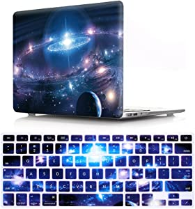 HRH 2 in 1 Galaxy Universe Starry Sky Laptop Body Shell Hard Case Cover and Silicone Keyboard Cover for Macbook New Pro 13 with Touch bar and Touch ID A2159 A1706 A1989(2019 2018 2017 2016 Release)
