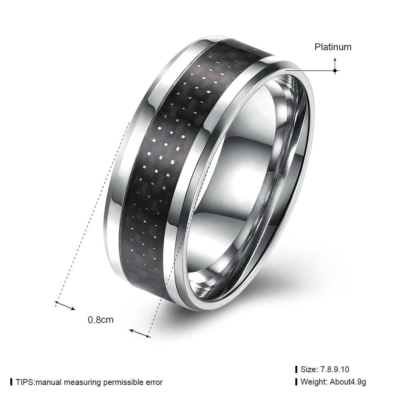 AMDXD Stainless Steel Wedding Rings for Men Black Lattice Shape Size 7 by