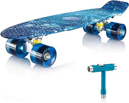 pour Fille Gar/çon Adulte Table en Plastique Renforc/é 4 roulettes PU Gonex 22/'/' Skateboard Planche /à roulettes /Mini Cruiser Roulement ABEC-7