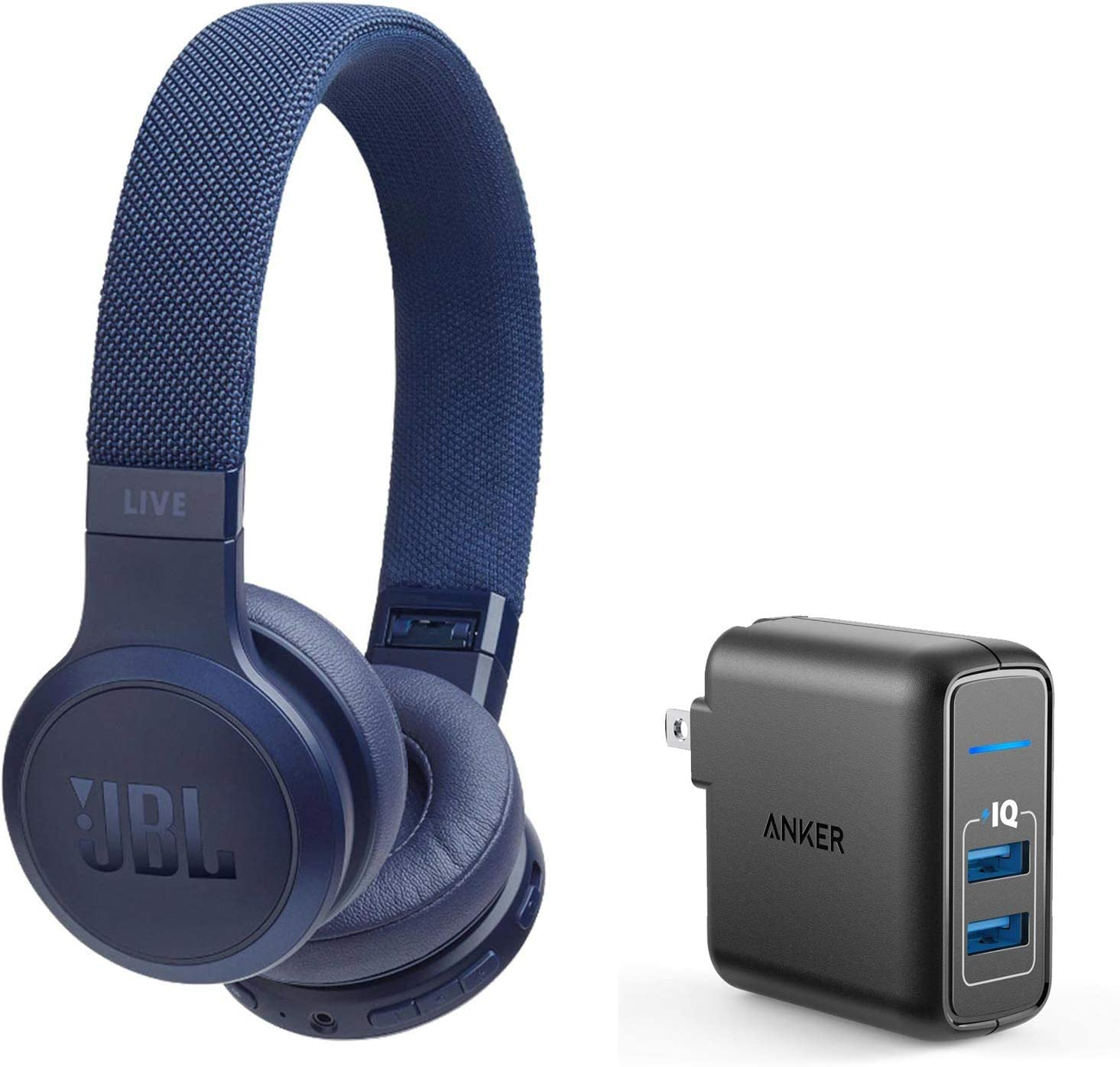 JBL Live 400BT On-Ear Wireless Bluetooth Headphones Bundle with Anker PowerPort Elite 2 Port USB Wall Charger - Blue