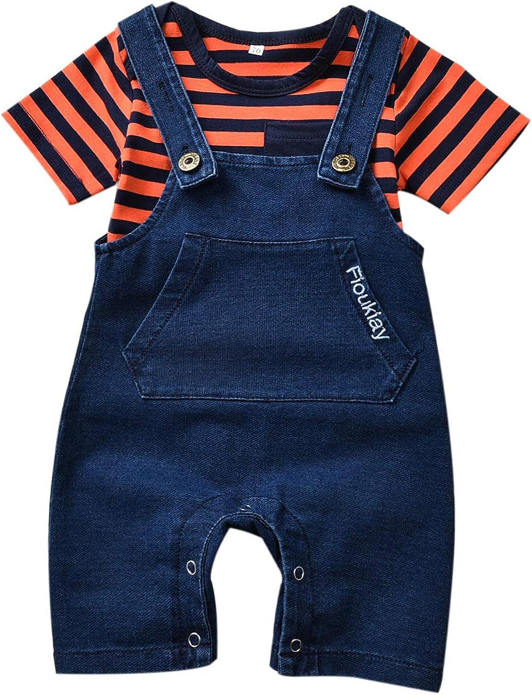 2PcsUnisex-Baby-Vintage-Clothes-Infant Jeans Overalls Romper Outfit Sets