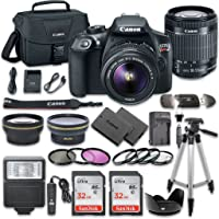 Canon EOS Rebel T6 DSLR Camera Bundle with Canon EF-S 18-55mm f/3.5-5.6 IS II Lens + 2pc SanDisk 32GB Memory Cards…