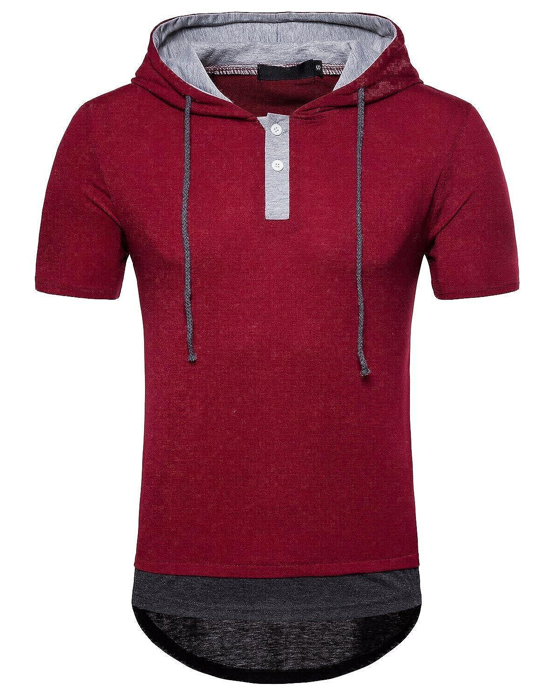 WHATLEES Mens Casual Hoodie Shirt Slim-Fit Pullover Hooded T-Shirt