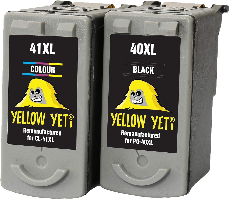 Yellow Yeti PG-40 CL-41 Cartuchos de Tinta remanufacturados Negro/Color para Canon Pixma iP2600 MP140 MP460 iP1800 iP1900 iP2500 MP190 MP210 MP220 MP170 MP180 MP160 MP450 MP470 MP150 MX300 MX310: Amazon.es: Electrónica
