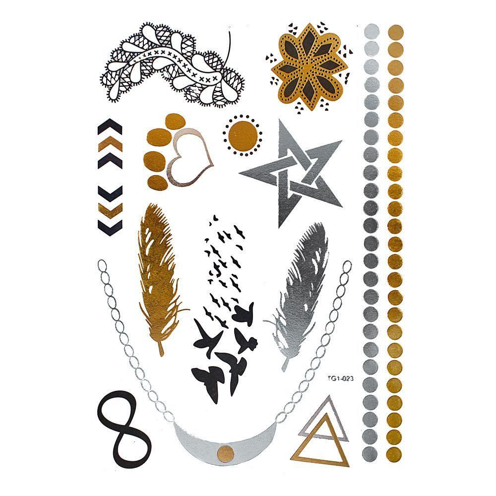 Motivo tatuaje Chic-Net arco aves de plumas collar de plata dorada ...