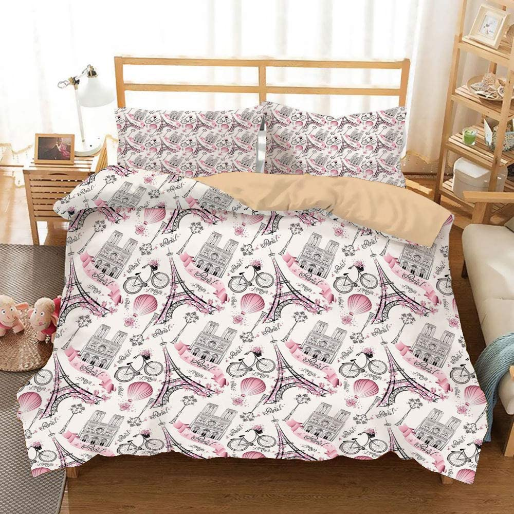 Eiffel Khaki Duvet Cover Set Twin/Twin XL Size,Artistic Composition Floral Landmark Notre Dame Cathedral Bicycle Air Balloon Decorative,Decorative 3 Piece Bedding Set with 2 Pillow Shams,Rose Black Wh