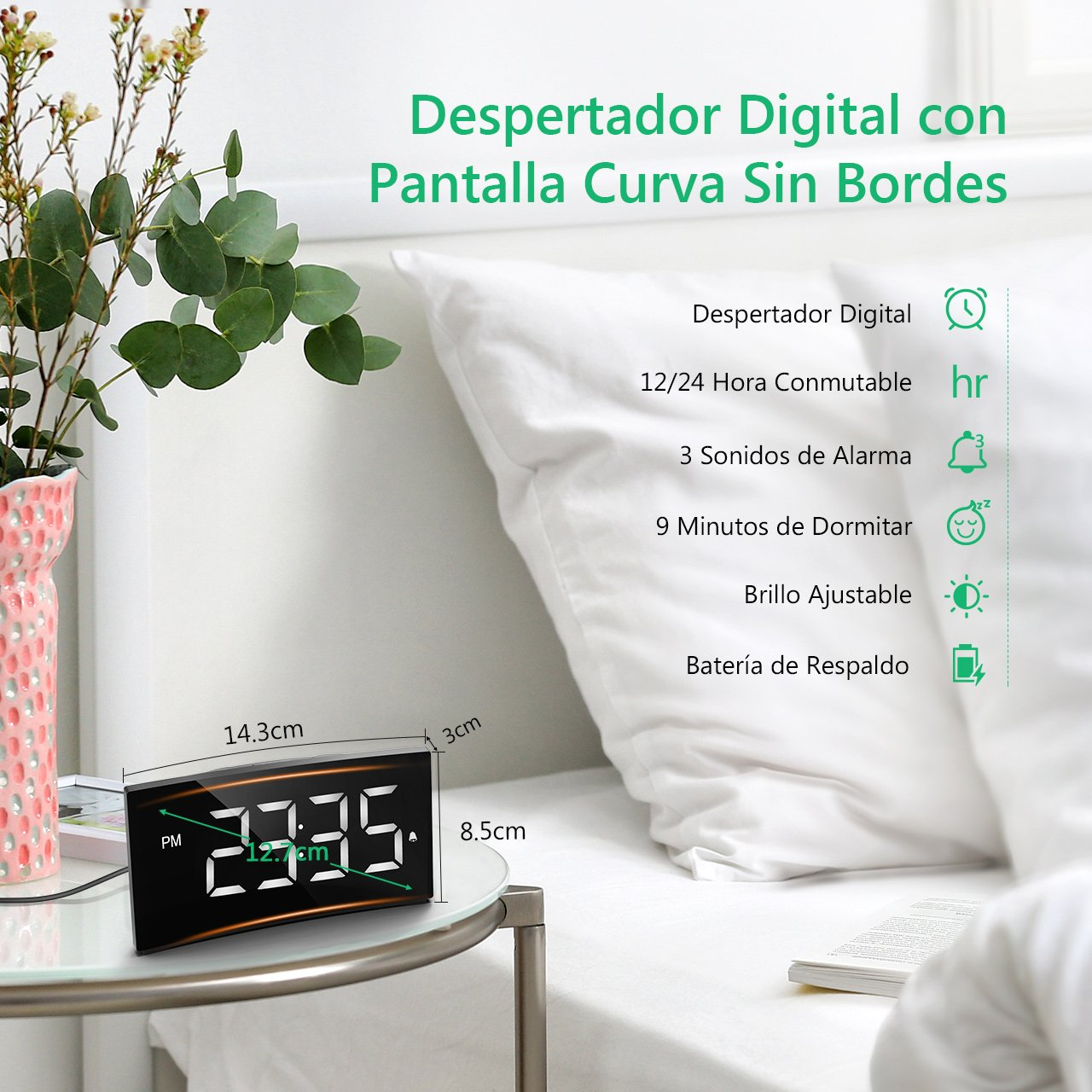 Holife Despertador Digital, Reloj Despertador Digital con Pantalla Curvada, con Enchufe de Carga, 3 Sonidos de Alarma, 6 Brillo Ajustable, Función Snooze ...