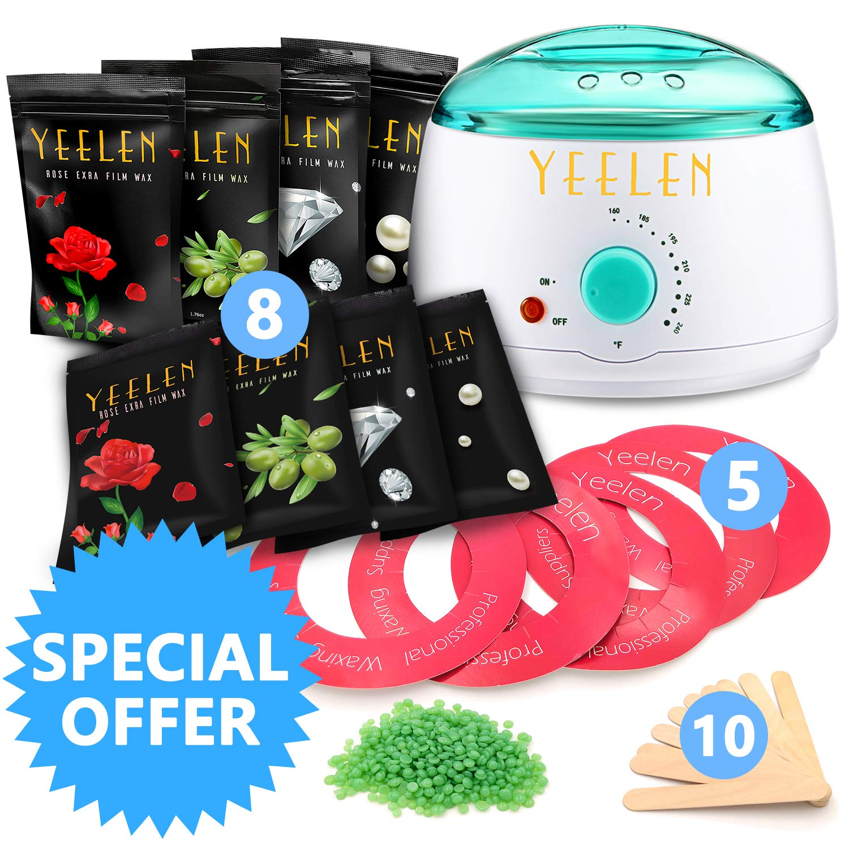 【24 in 1】Yeelen Wax Warmer Hair Removal Waxing Kit Wax Melts + 8 Hard Wax Beans (1.76oz/Pack)+ 10 Wax Applicator Sticks