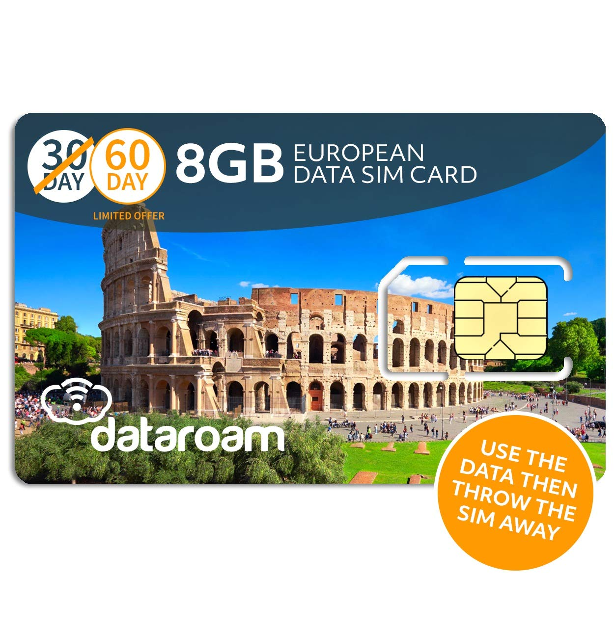 dataroam Prepaid 4G Europe Data SIM Card - Europe 8GB Bundle - 36 Countries - 3-in-1 SIM - Cellhire by Cellhire