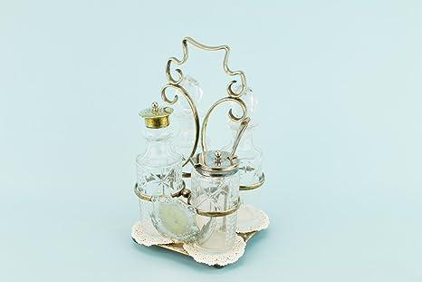Lavish Shoestring corte cristal salero y pimentero en soporte plateado olla salero, pimentero tarro tradicional