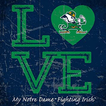 Prints Charming College Love My Team Mascot in Heart Square Color Notre  Dame Fighting Irish Unframed 63afa48be79