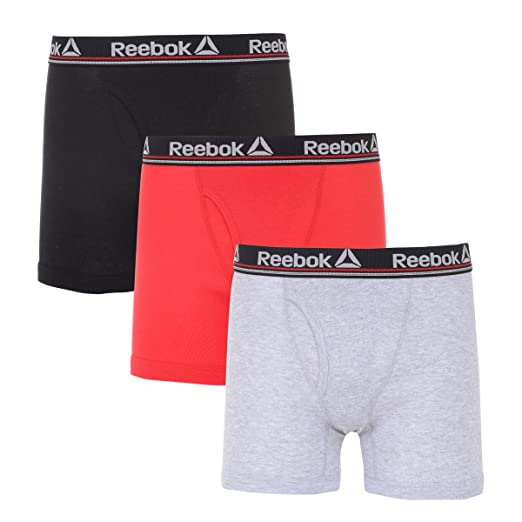 8adb9587fe5de Reebok Mens 3 Pack Cotton Boxer Briefs (Fly)