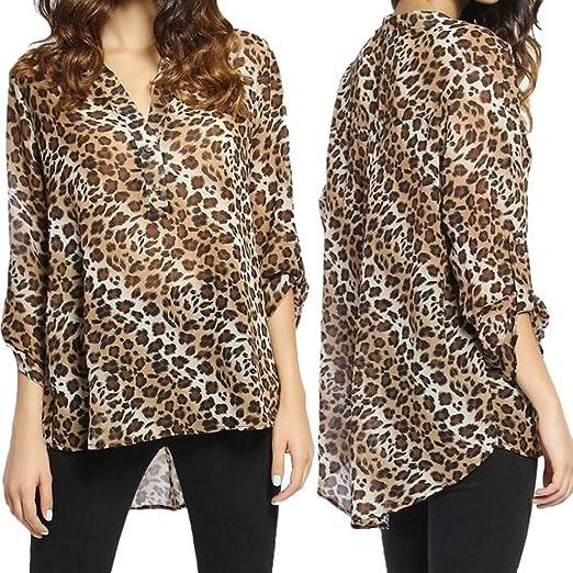 f9742999dbb5 Leopard Print Chiffon Blouse Women's Long Sleeve Button Down Sheer Shirt  Top at Amazon Women's Clothing store: