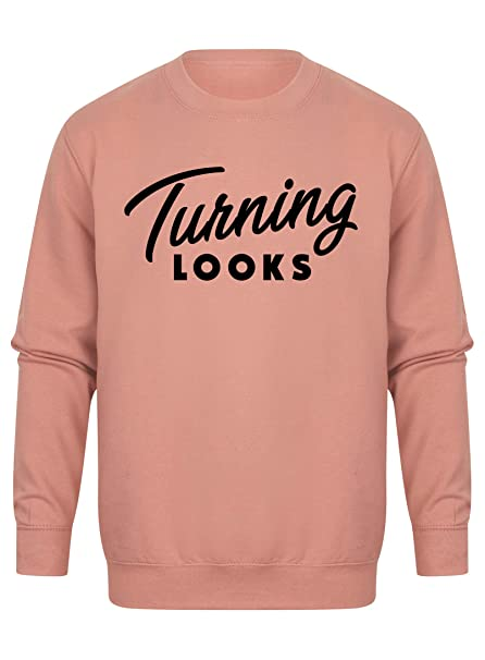 Unisex Slogan Sweater Jumper Turning Looks Dusty Pink Large with Black: Amazon.es: Ropa y accesorios
