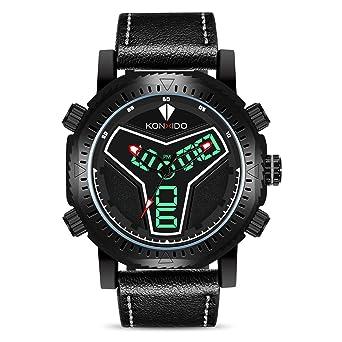 KONXIDO Mens Big Face Sports Watch for Men Military Multifunction Analog- Digital Display Waterproof Wristwatch