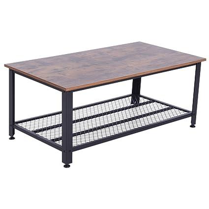 Tavolini Da Salotto Regolabili.Homcom Tavolino Da Caffe Stile Industriale Gambe In Metallo Piedini Regolabili Antigraffio Salotto Legno 106 X 60 X 45cm
