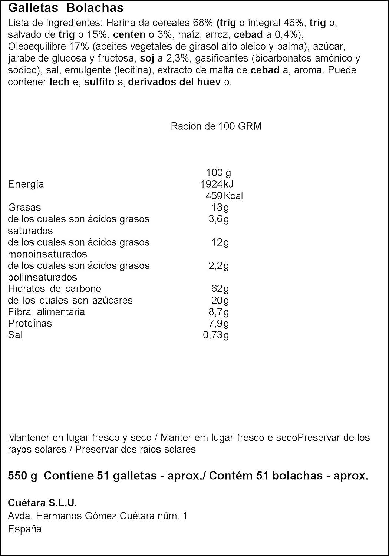 Cuètara - Fibra linea - Integral soja - 550 g - [pack de 3 ...