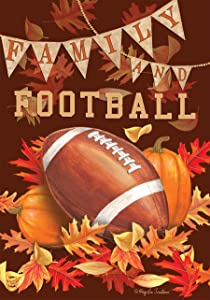 "Family & Football Fall Garden Flag Autumn Sports Game Day 12.5"" x 18"""