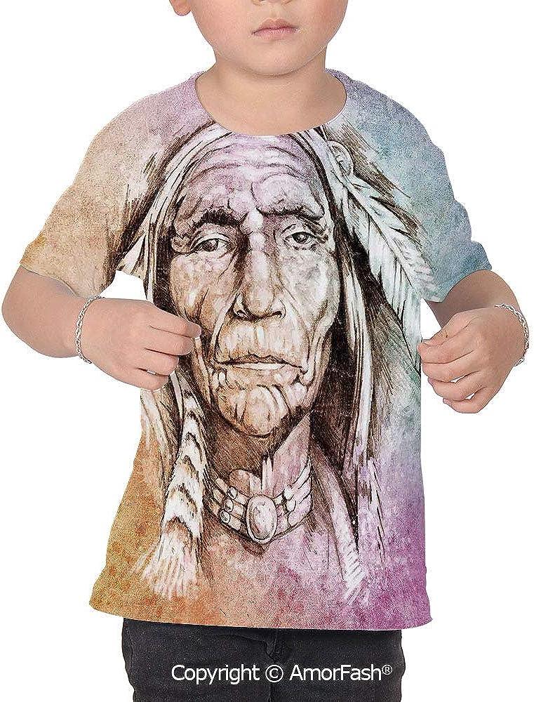 Native American Girl Regular-Fit Short-Sleeve Shirt,Personality Pattern,Portrait