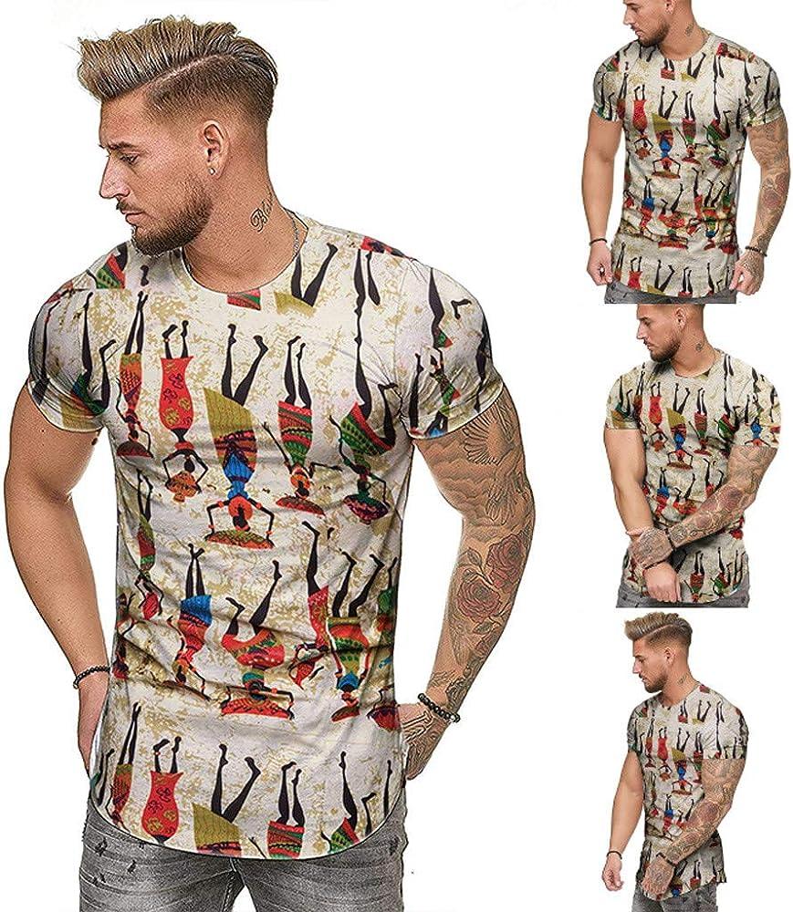 MEIbax Explosión Impresión étnica de Moda Camiseta Hombre Slim Fit Cuello Redondo Manga Corta de Hombres Deportes Camisa Hombre Cómodo Transpirable Tops Hombre Sudadera Ropa Hombre: Amazon.es: Ropa y accesorios