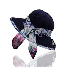 Kabello Women Big Bowknot Straw Hat UV Protection Beach Cap Sun Hat, Hats for Women & Girls (Dark Blue)