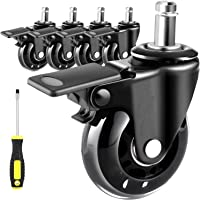 5 Pack Office Chair Wheels Replacement, Universal Heavy Duty Office Chair Casters with Unique Brake System, Safe for All…