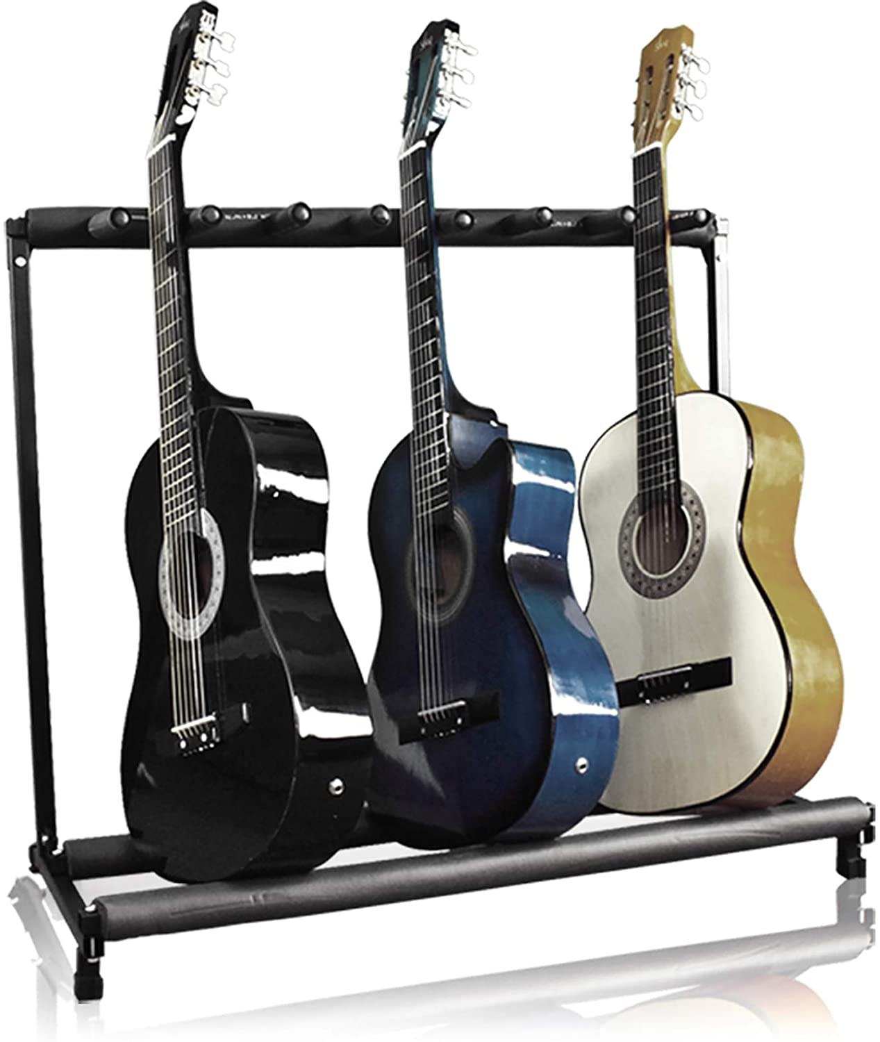 Amazon Com Best Choice Products Multi Guitar Stand 7 Instrument Folding Storage Display Rack Black Musical Instruments