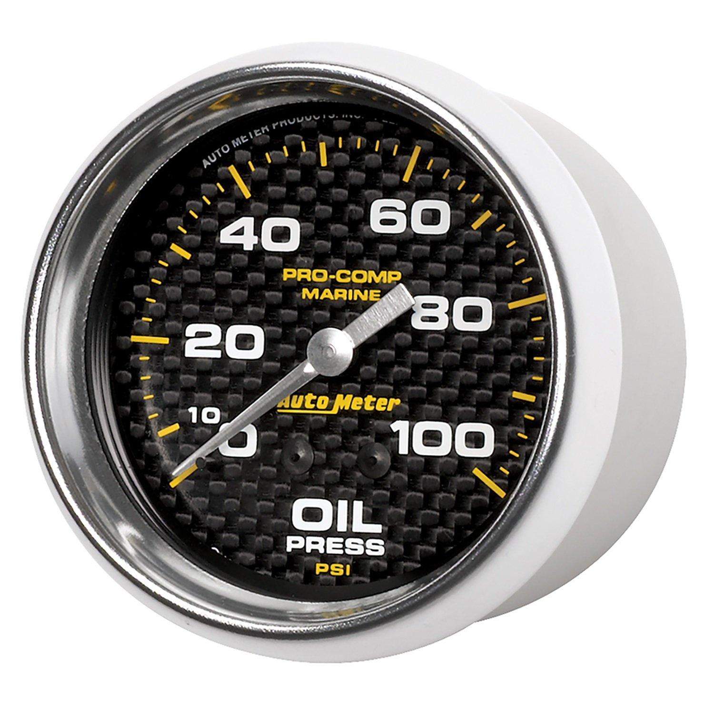 Marine Carbon Fiber Oil Pressure Auto Meter AutoMeter 200777-40 Gauge Mechanical 2 5//8 100Psi