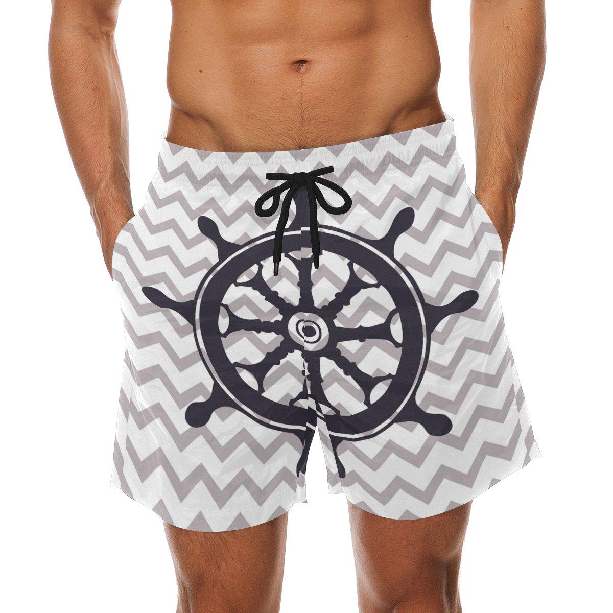 LORVIES Mens Nautical Rudder Beach Board Shorts Quick Dry Swim Trunk