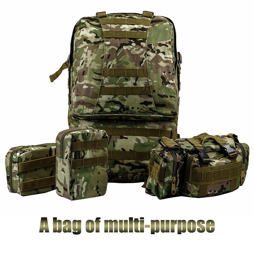 Military Tactical backpack Camouflage large Military Backpack molle Assault Pack 50L waterproof 3 day Combat Backpack for Outdoor Hiking Camping Travelling