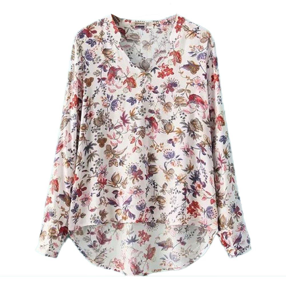 Mujeres Manga Larga Gasa De La Impresión De La Flores Camisas Blusa De Cuello En V Blanco L
