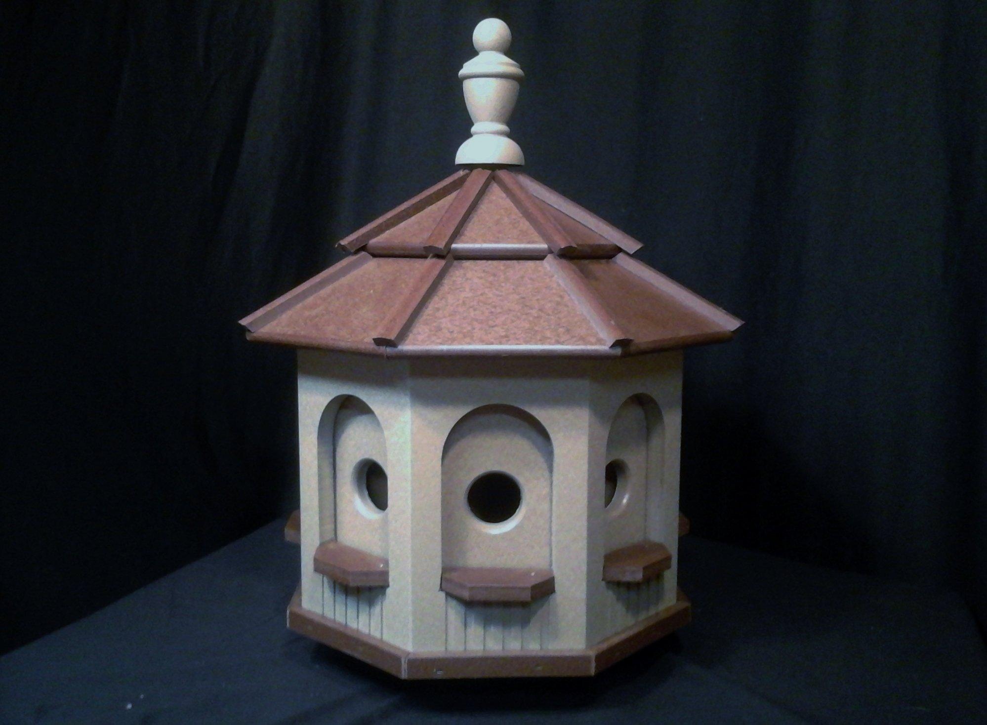 Medium Octagon Vinyl Birdhouse Amish Homemade Handmade Handcrafted Clay & Brown