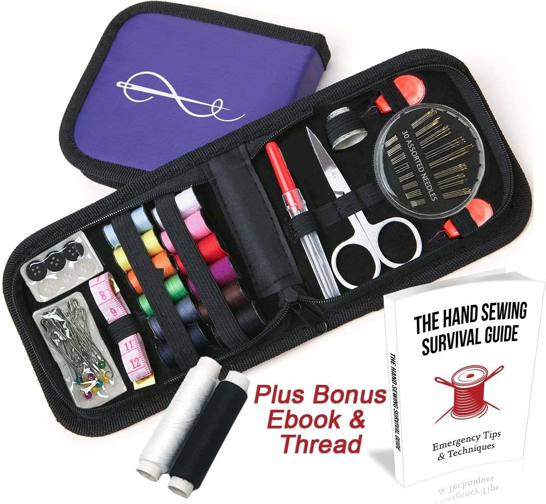 Craftlab Best Mini Sewing Kit with Sewing Survival Ebook, 78 Emergency Accessories For Home, Travel, Emergency