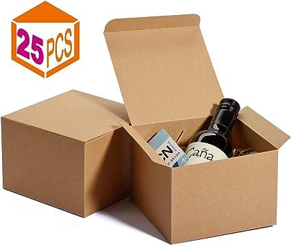Switory Cajas de Regalo Kraft de 25 Piezas, 12,5x12,5x9cm Cajas de Regalo de Papel Kraft con Tapas para Hacer Manualidades, Magdalenas, Cajas de cartón para propuestas de Dama de Honor: Amazon.es: Oficina