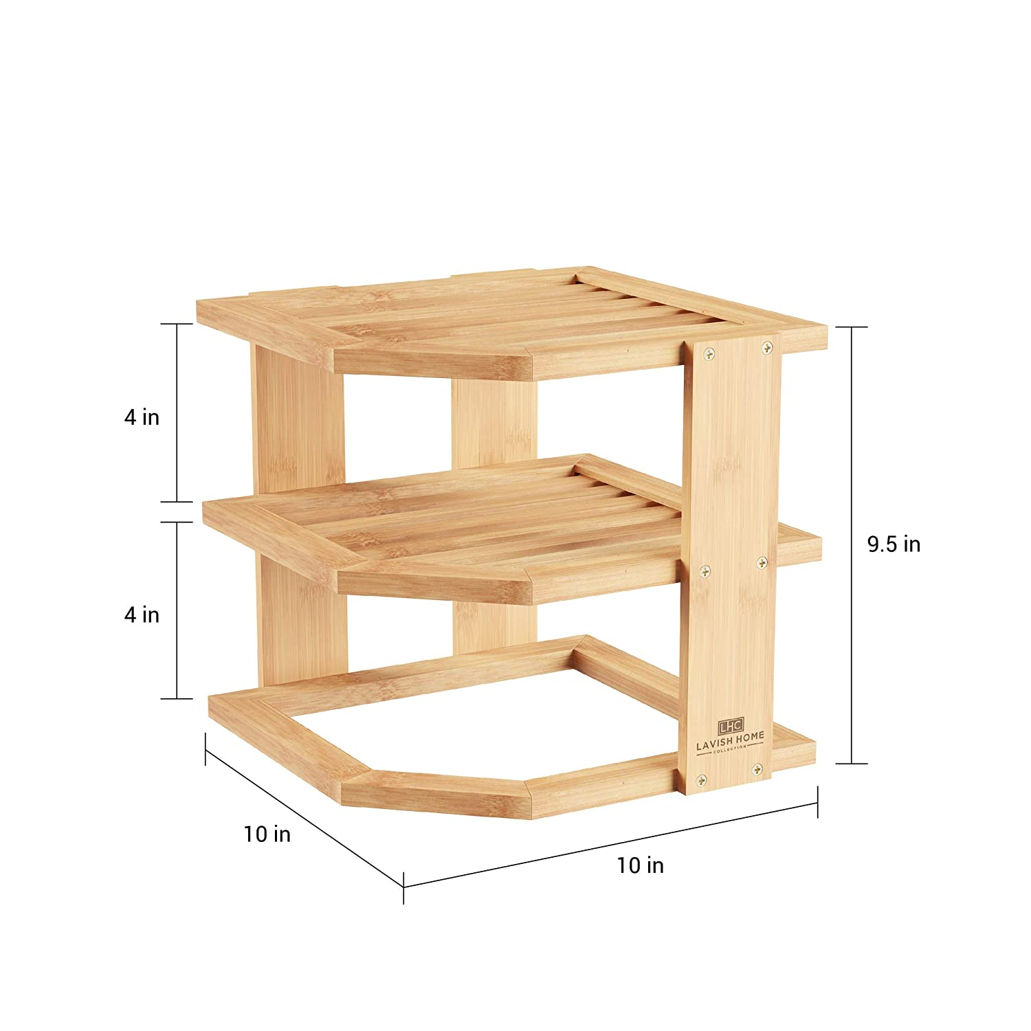 Natural Wood Space Saving Rack Lavish Home 2-Tier Bamboo Corner Shelf for Kitchen or Bathroom Cabinet Countertop Cupboard Storage and Organizer