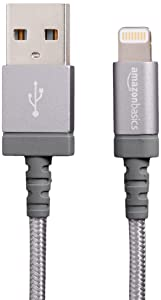 AmazonBasics Nylon Braided USB A to Lightning Compatible Cable - Apple MFi Certified - Dark Grey, 6-Foot, 10-Pack