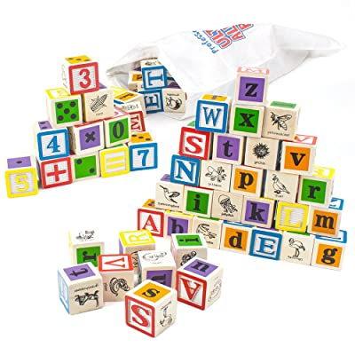 Imagination Generation Professor Poplar's Ultimate Alphabet and Number Blocks (50pcs.) with Cloth Storage Bag: Toys & Games