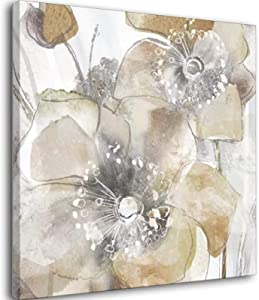 Floral Flowers Poppies - Taupe Spring Poppy II Canvas Art Poster And Wall Art Picture Print Modern Family Bedroom Decor Posters Unframe-style1 20×20inch(50×50cm)