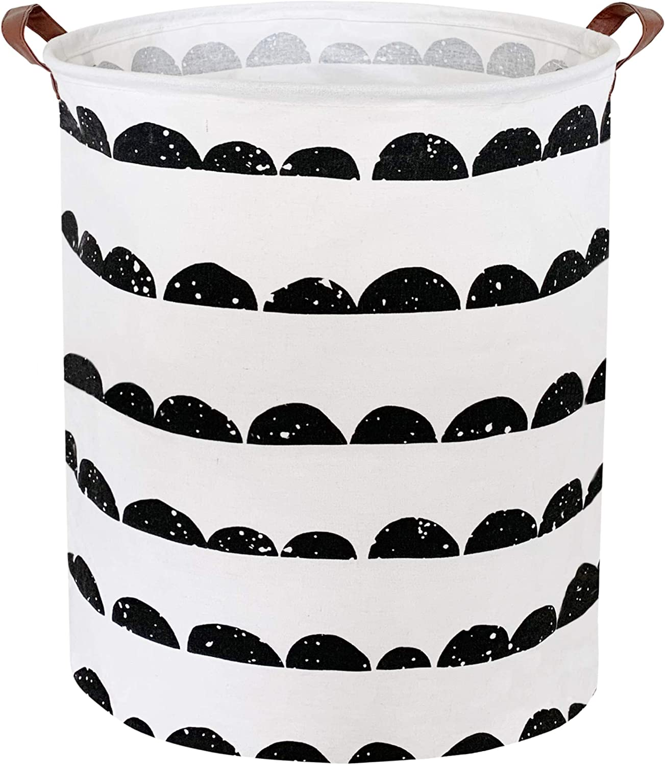 CLOCOR Laundry Basket,Laundry Hamper,Collapsible Storage Bin,Canvas Fabric Clothes Baskets,Nursery Hamper for Home,Office,Dorm,Gift Basket (Semi-Circle)