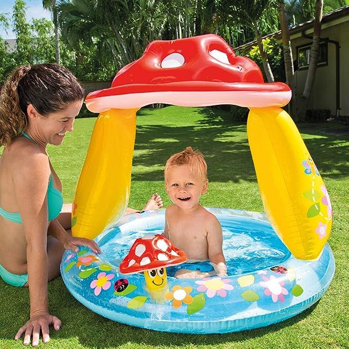 Intex 57114NP - Piscina bebé con parasol 102 x 102 x 89 cm: Amazon.es: Juguetes y juegos