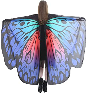 70ffa8845a6f0 FEOYA Halloween Butterfly Wings Shawl Fairy Pixie Colorful Cape Dance Party  Costume